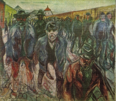 Edvard Munch - workmen returning on their premises (1915)