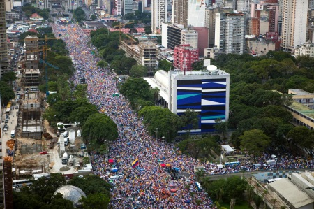 General view shows street filled with supporters of Venezuela's opposition presidential candidate Capriles during a regional closing campaign rally in Caracas